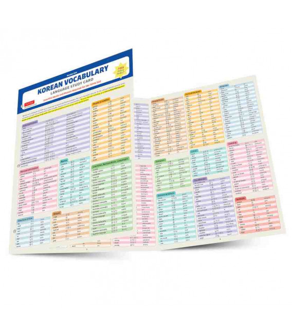 Korean Vocabulary Language Study Card - Includes online audio