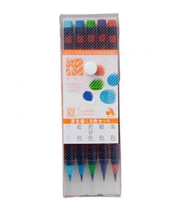 Akashiya Sai Aquarell-Pinselstift-Set mit 5 Farben (Sommer)